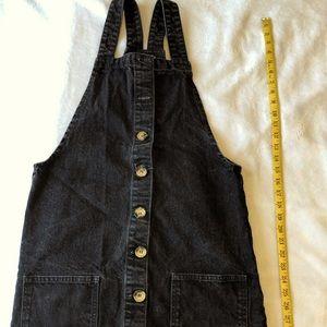 Button up overall denim skirt set